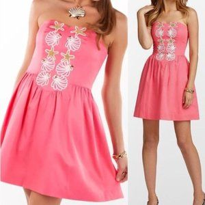 Lilly Pulitzer Mayfield Coral Strapless Dress
